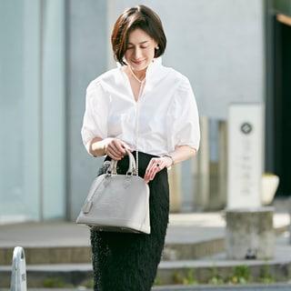 子供の学校に行く日のシックな白×黒スタイル