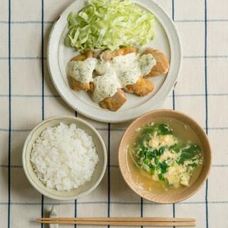 夕食が15分で完成!「一汁一菜」のすすめ簡単チキン南蛮&豆苗の卵とじスープ