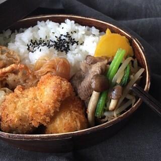 まぐろフライと牛肉と小松菜の炒め物