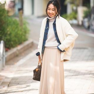 マキシスカートは、中に重ね着し放題な冬の便利アイテム