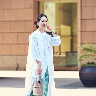 【スナップ】春のシャツワンピースはきれい色合わせでフェミニンが気分