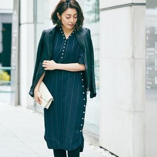 【女優の私服】フェミニンでおしゃれなパール付きワンピース