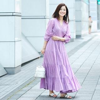 【40代コーデ】初夏のご近所コーデに使える!カラーワンピースの着こなし実例43