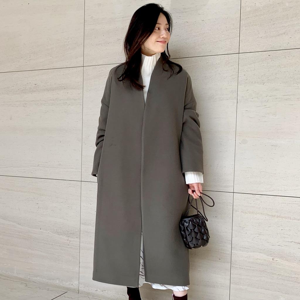軽くて暖か!フリース素材の高見えノーカラーコート【2020冬コート】