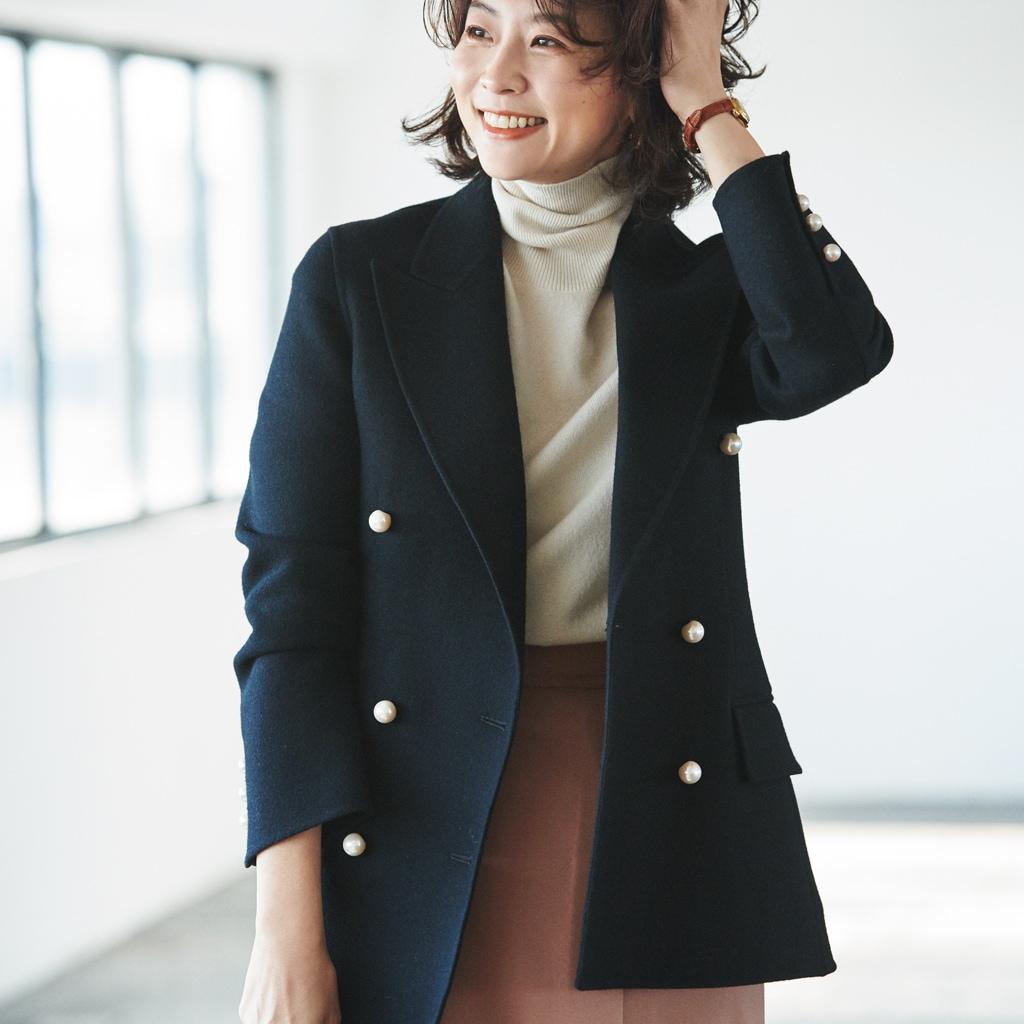 冬には冬素材のジャケットで仕事服があか抜ける【スタイリスト川上さやか】