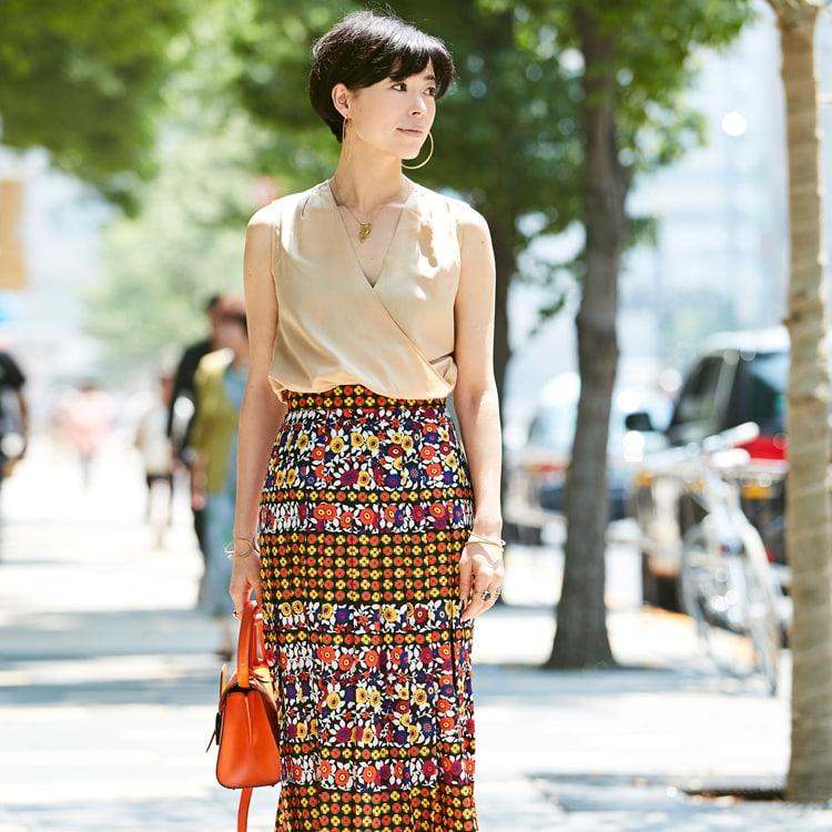 【40代コーデ】花柄で「立つだけで華やか」な夏の着こなし30選