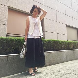 夏のモノトーンコーディネートは白を重ねるとうまくいく⁈ by川良咲子
