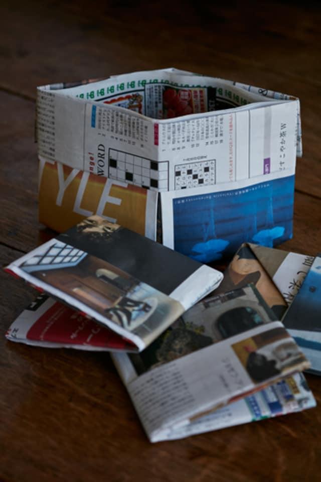 新聞紙 ゴミ箱 縦長 作り方