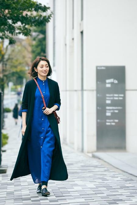 【女優の私服】色とデザインにひと目惚れしたワンピースはパンツと重ねて今っぽくスライダー1_1