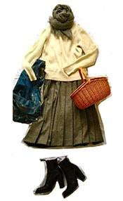 トラッドスタイルには、ミモレ丈スカートで今年らしいバランスを。